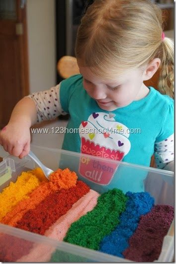 It's colorful, it's fun AND it's even edible! Learn how to make this safe sensory sand play for your toddler with 123 Homeschool 4 Me.