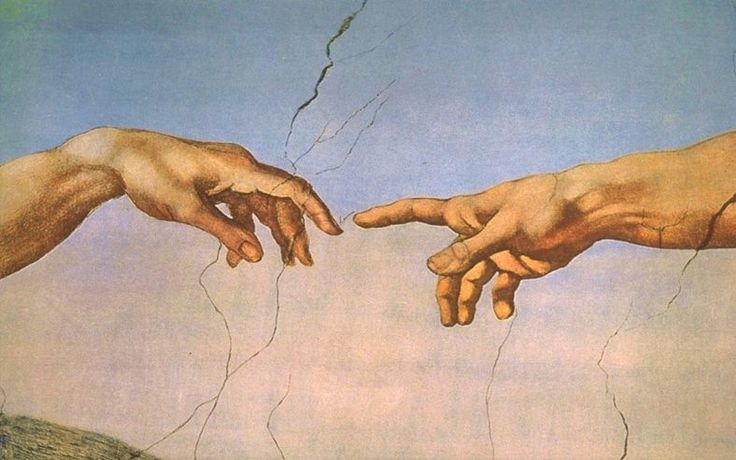 On peut rapprocher le mouvement de la main à celui de Michel-Ange dans la Chapelle Sixtine, La Création, sauf que dans l'oeuvre de Lucas, le contact ne s'opère pas, la création est stérile avec une seule main.