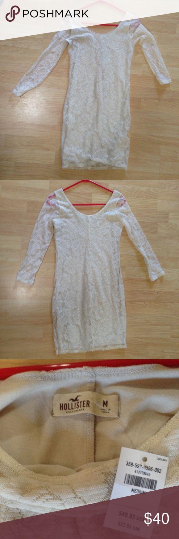 Long sleeve lace white hollister dress Brand new white long sleeve lace hollister dress that was too long for me I'm 5'2. Hollister Dresses Long Sleeve