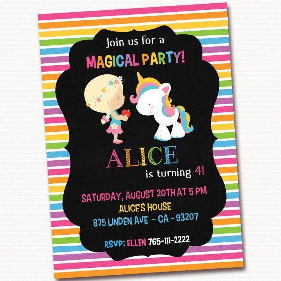 Invitación de unicornio unicornio invitar arco iris