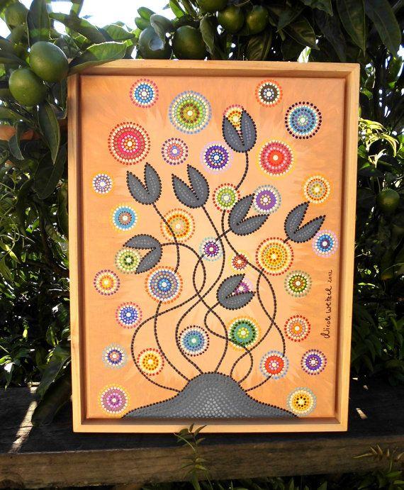 Original Dot Painting 30 x 40 cm Canvas framed by ArtAndBeing
