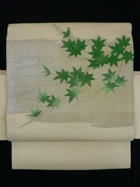 Steamed Chestnuts Color, Floating Walter and Young Leaves Pattern Ro Nagoya Obi / 蒸し栗色地 流水と若葉の楓お太鼓柄 絽名古屋帯   【リサイクル着物・アンティーク着物・帯の専門店 あい山本屋】#Kimono #Japan