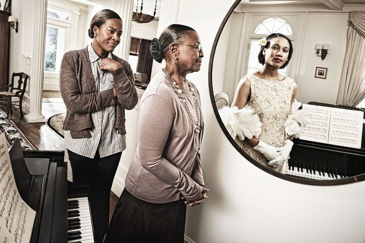 """Tom Hussey's """"Mirror"""" Series Captures Elderly Subjects' Reflections Of Their Younger Selves."""