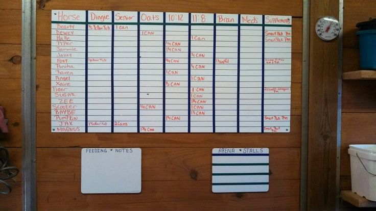 A white board already made, bought from Home Depot, sharpie and sports electrical tape with a ruler and tape measure my feed room is all organized with all the horses names, grains and meds they need!