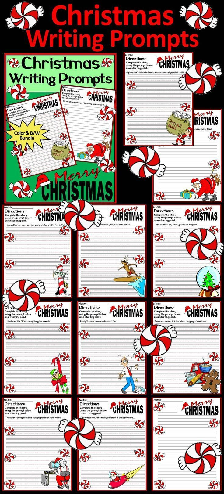 Christmas Writing Prompts Activity Packet:  Christmas Writing Prompts packet contains ten different story starters all with a fun holiday theme.   Christmas Writing Prompts Includes: * Ten Christmas Writing Prompts on both Primary Lined Paper & Regular Li