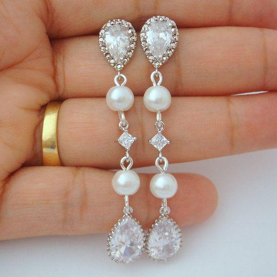 Wedding Jewelry Bridal Earrings Long Drop Dangle by RBJohnson, $45.00