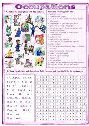 english worksheet match find occupations worksheet school counseling pinterest. Black Bedroom Furniture Sets. Home Design Ideas