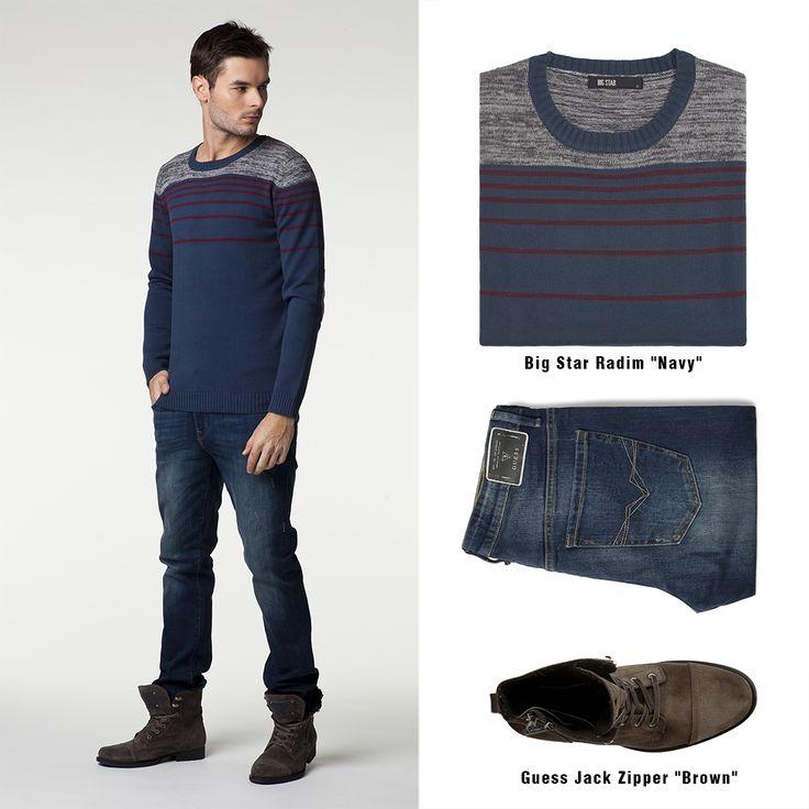 #brandpl #newproduct #newcollection #autumnwinter14 #fallwinter14 #mencollection #men #sweater #bigstar #navy #brown #shoes #guess #jeans