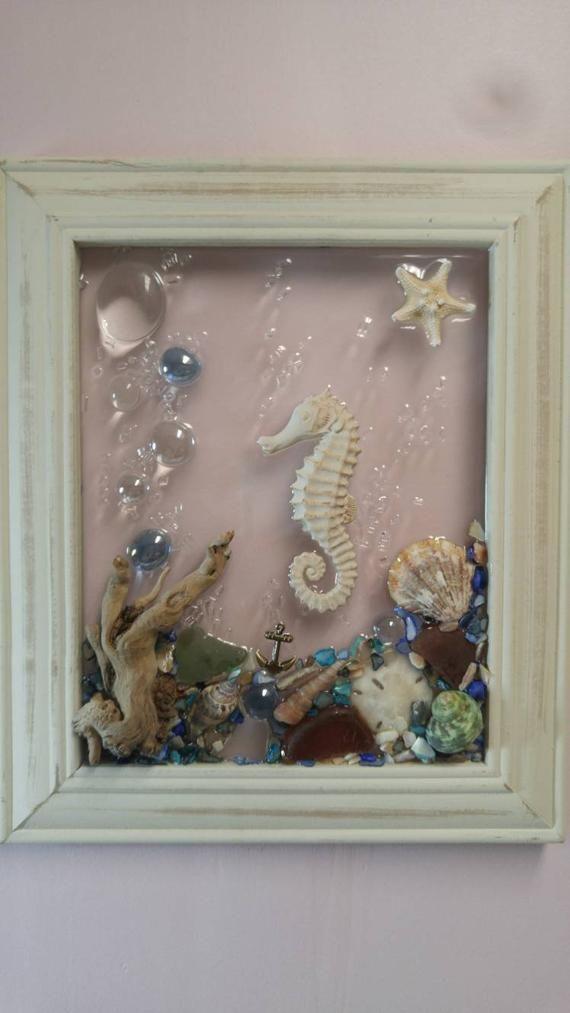 8 X 10 Seahorse Sea Glass Art Frame Sea Glass Art Sea Glass Crafts Beach Glass Art