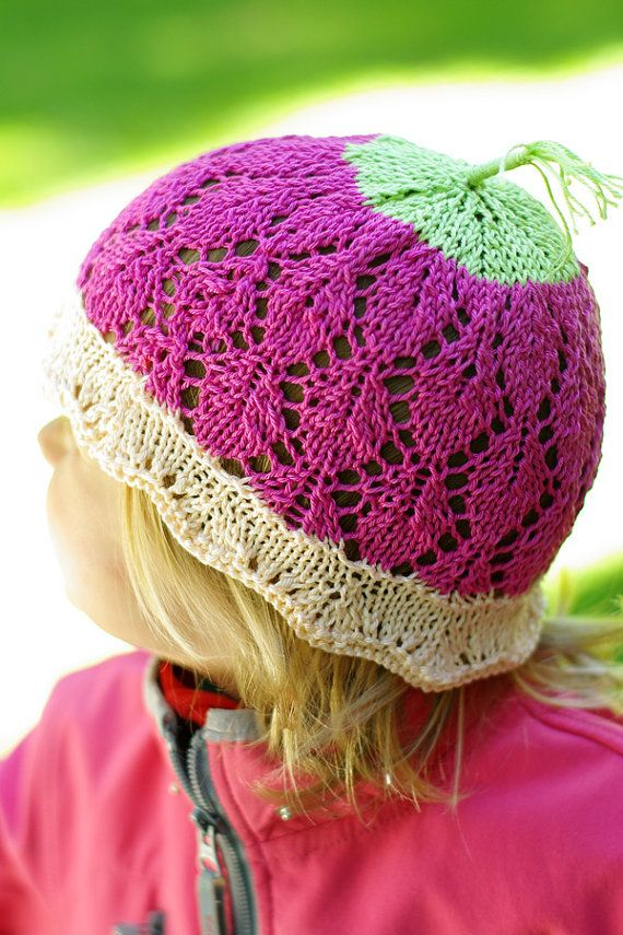 Kids knitted lace sun hat handknitted sunhat girl by ESTtoYou