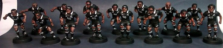 Beautifully painted All Black rugby team miniatures for Crash Tackle!