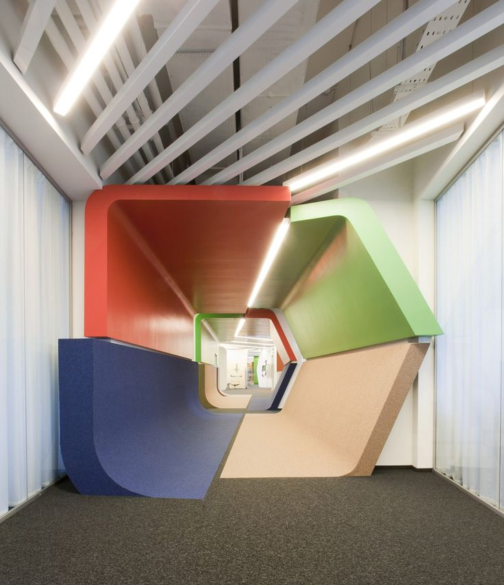 za bor architects inserts colorful additions to yandex office
