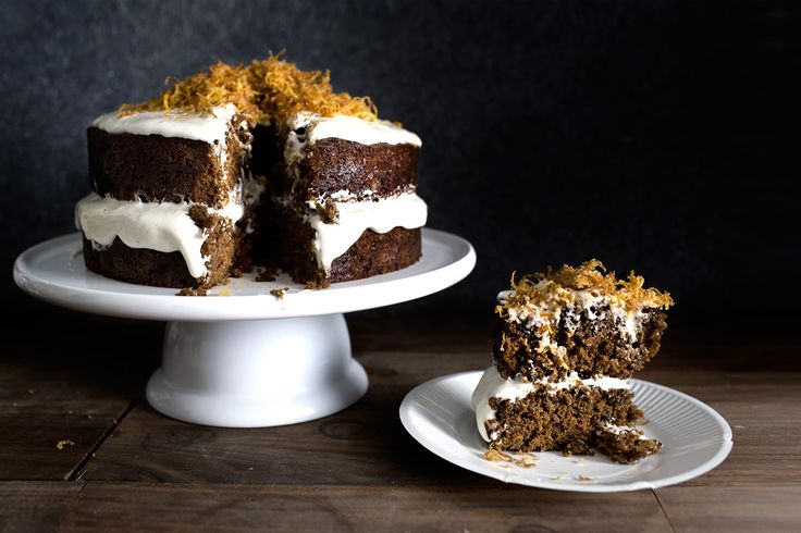 Carrot Gingerbread Cake with Cardamom Frosting and Caramelized Ginger