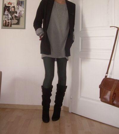 Grey leggings, long top, black blazer, boots