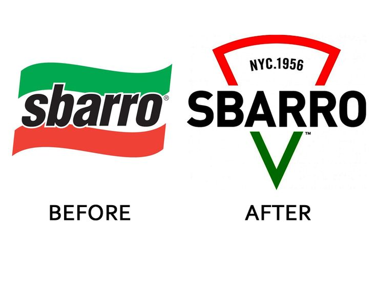 7. Sbarro's new owners are hoping to revive the struggling pizza chain. Its 2015 branding overhaul, which evokes a slice of pizza, is a step in the right direction.