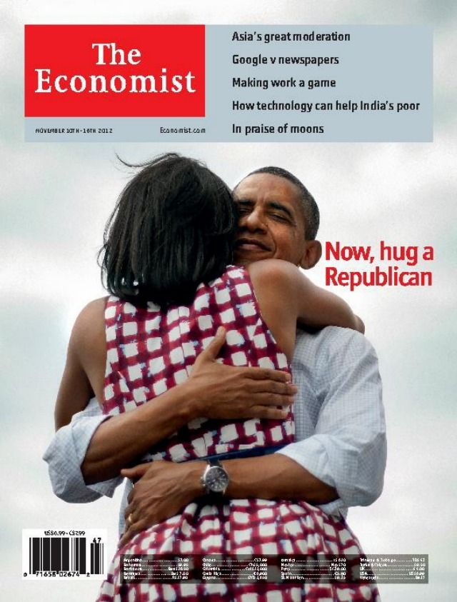 'The Economist' Cover Features Obama's Twitter Pic: http://mashable.com/2012/11/08/the-economist-cover-obama-twitter-pic/