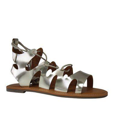 Look at this #zulilyfind! Matte Gold Robin Lace-Up Sandal #zulilyfinds