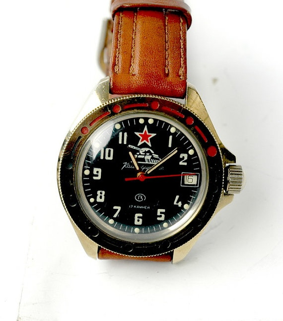 1980s the Soviet Union army watch with leather watch band  by efans, $68.00