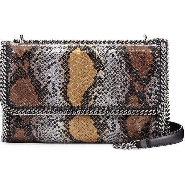 Stella Mccartney Snake-Print Whipstitch Chain Shoulder Bag (2.085 RON) ❤ liked on Polyvore featuring bags, handbags, shoulder bags, bronze, shoulder handbags, chain-strap handbags, chain handle handbags, stella mccartney shoulder bag and snake print handbags