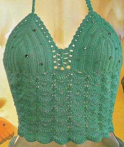 Green Beaded Halter Top free crochet graph pattern