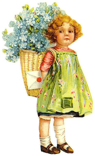 Girl with basket of flowers and a letter
