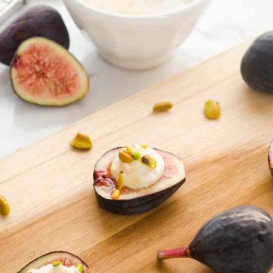 Fresh Fig Bites with Ricotta, Pistachios, and Honey Sherry Glaze are ...