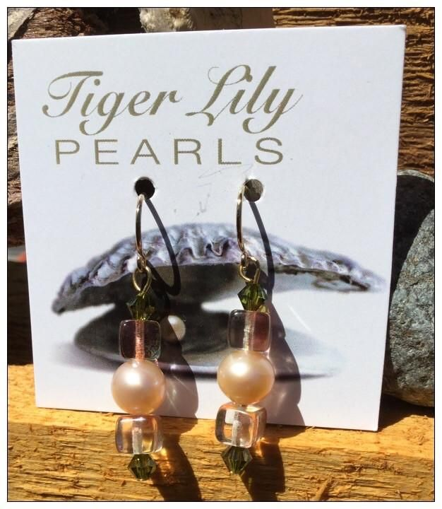 Peach Pearl and Green Crystal Earrings