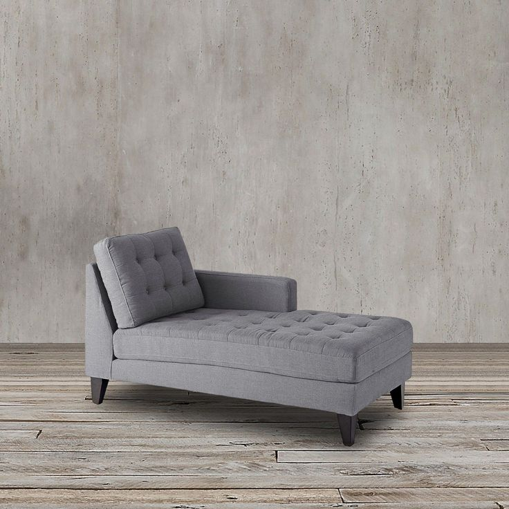 Hand- crafted and furnished in a fairly neutral poly/linen merge, this chaise lounge has great armrests, tapered solid wooden legs and loose pads for an innovative, efficient outline. Coil springs in the seat pads offer additional support and comfort.