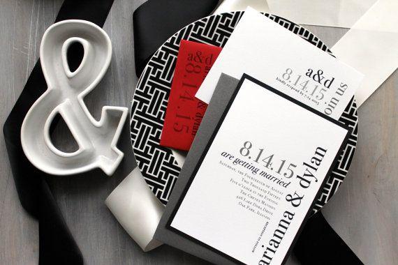 Urban Elegance Modern Wedding Invitations Elegant by BeaconLane
