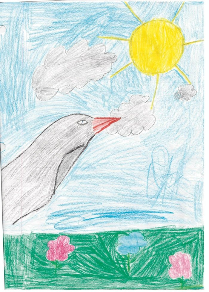 8-year-old student at Our Lady of the Assumption Catholic School in Beloit, used colored pencils to ...