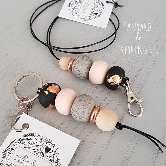 lanyard and keyring DUO set, teacher lanyard, key lanyard, teacher gift, clay ac…   – Chemistry
