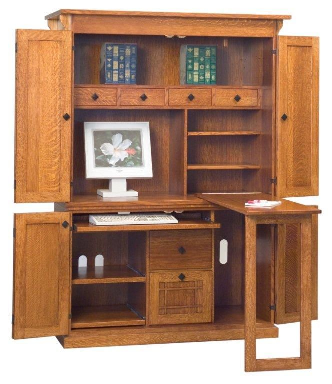 Gentil Amish Office Furniture Mission Computer Armoire
