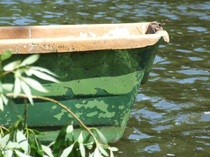 Fisherman´s boat on the river Sázava (Czech republik), near Český Šternberk