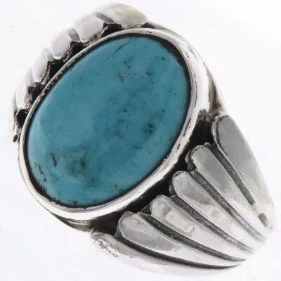Navajo Turquoise Silver Mens Ring Sizes 9 to 13