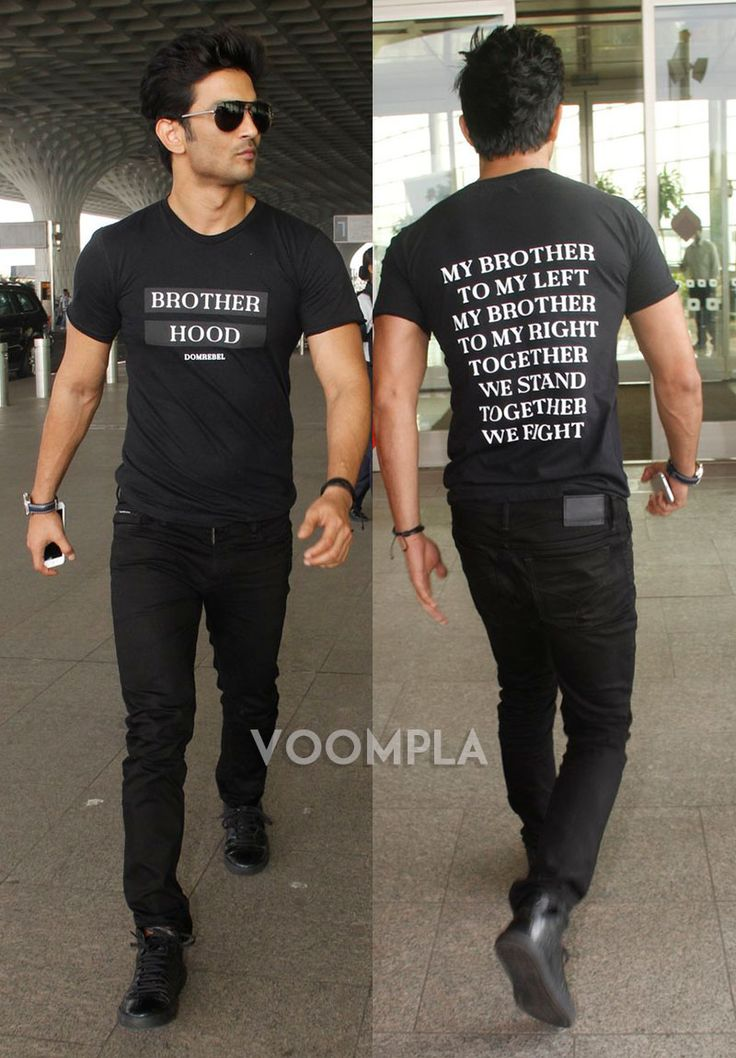 SWAG! Sushant Singh Rajput looking handsome in black jeans and a super cool slogan T-shirt! Click Here >> Voompla.com