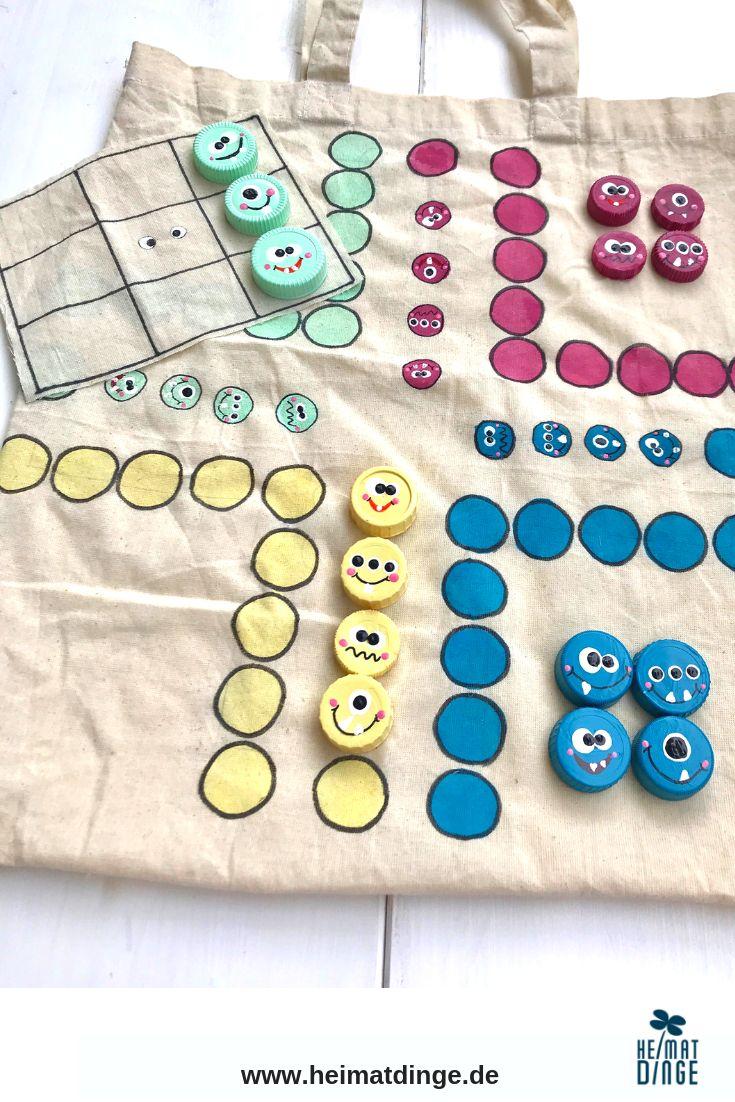 Spiele selber basteln: 3-in-1 Kinderspiele Set aus alter Baumwolltasche für unterwegs