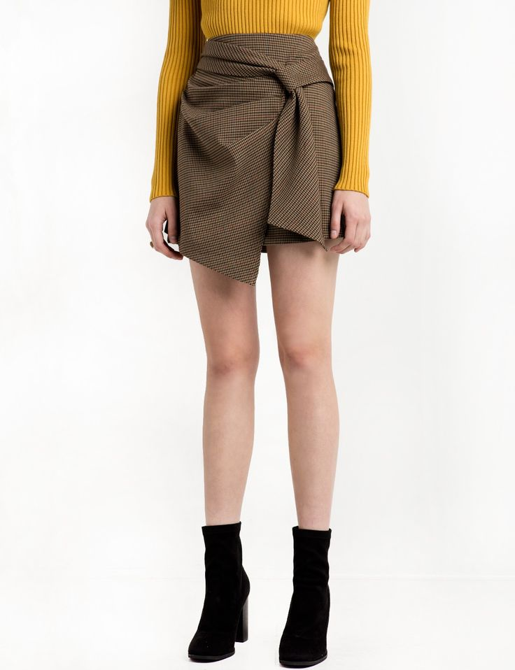Not sure about that style but great color for fall - Brown Check Wrap Mini Skirt
