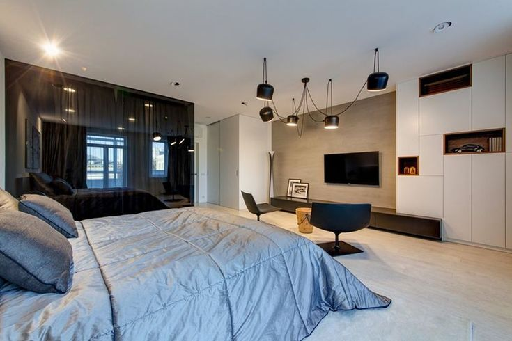 Minsk apartment by I-project bedroom TV