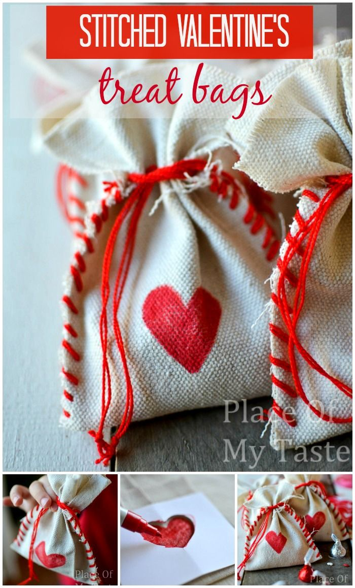 STITCHED DROP CLOTH VALENTINE's treat BAGs -