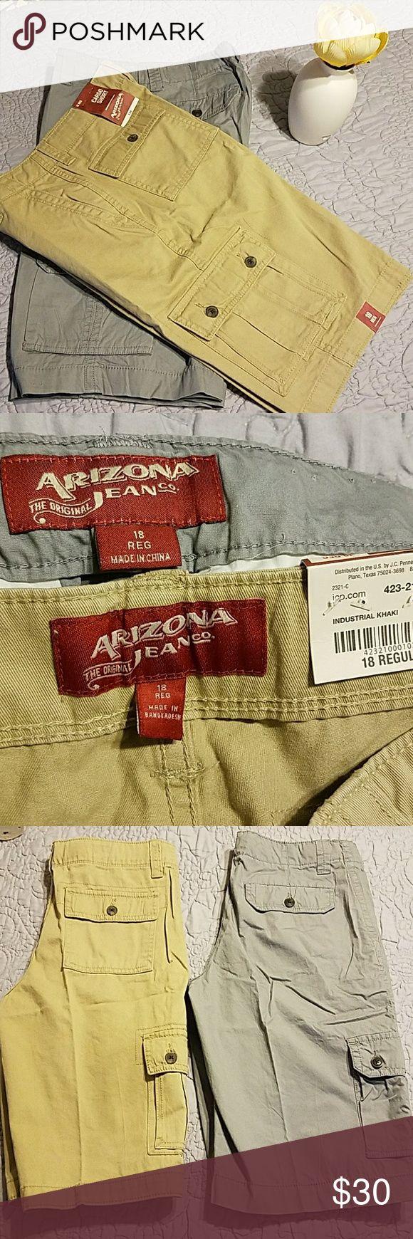 Arizona Jean & Company 2 Arizona boys cargo shorts size 18 regular one tan one Gray Arizona Jean Company Bottoms Casual
