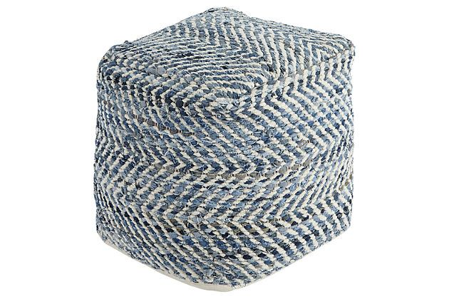 Blue Chevron Pouf View 1