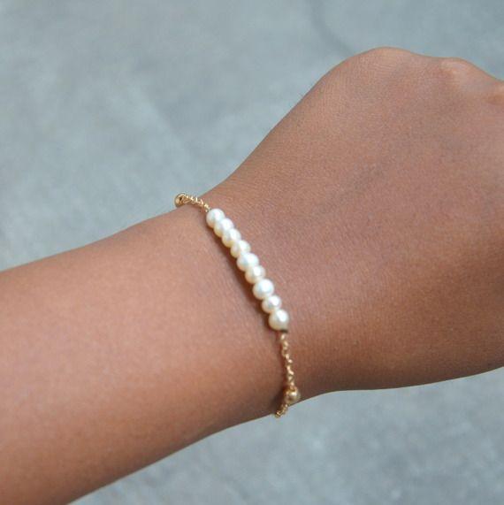 Bracelet Perles De Culture Naturelle Chaîne Doré, Bijoux fin, Bijoux idéal Mariage
