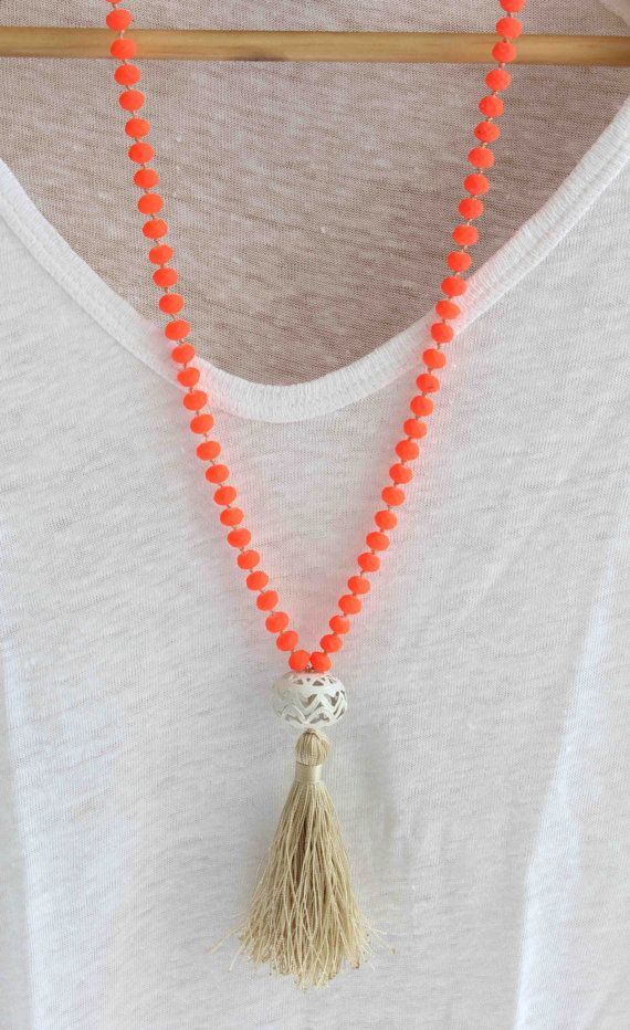 Neon Orange Necklace. Knot and Tassel Necklace. Summer Neon Necklace. Beachwear necklace. Bohemian necklace