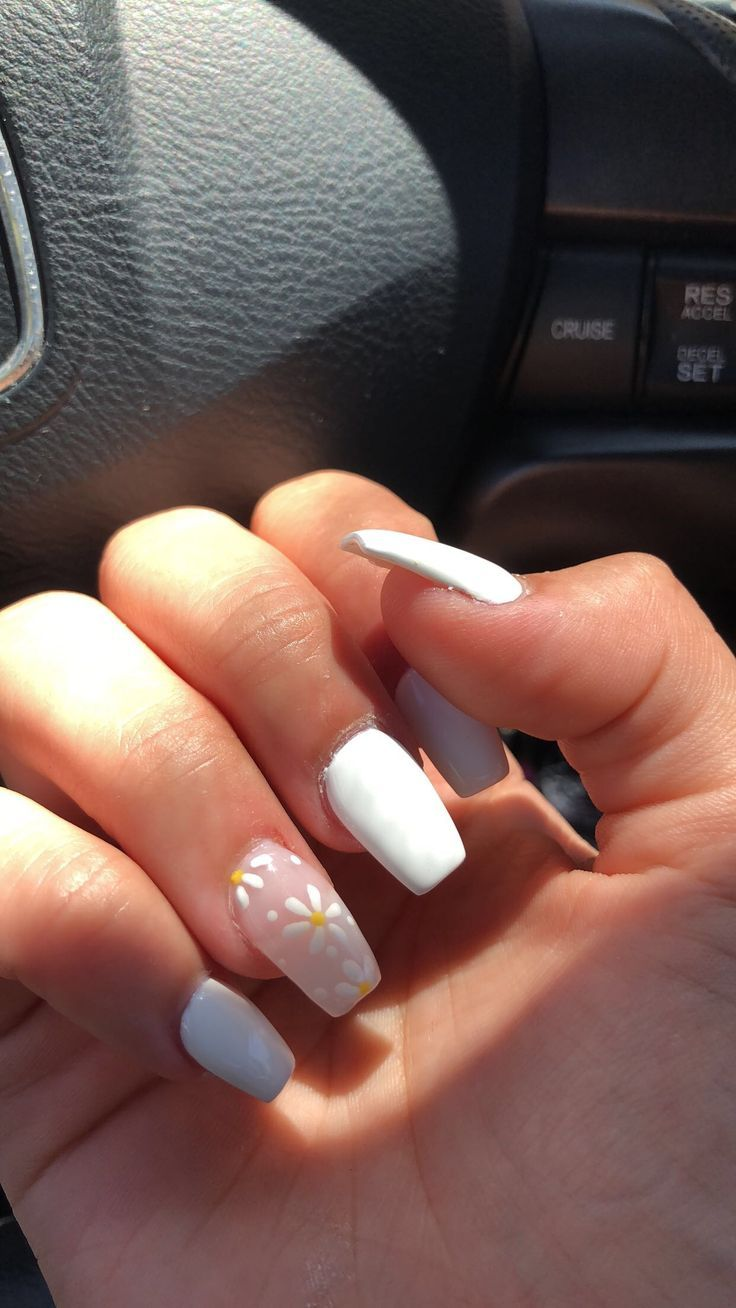 Love This So Cute For Summer Spring Nails White Acrylic Nails