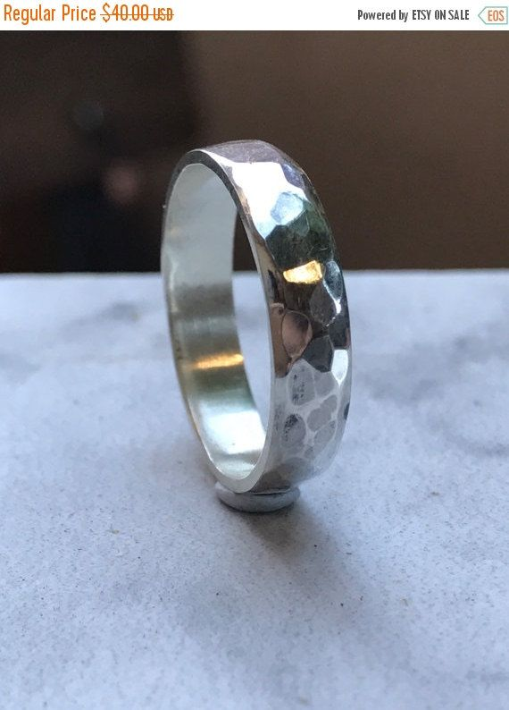 Sale Hammered stacking ring sterling silver by SilverPinions