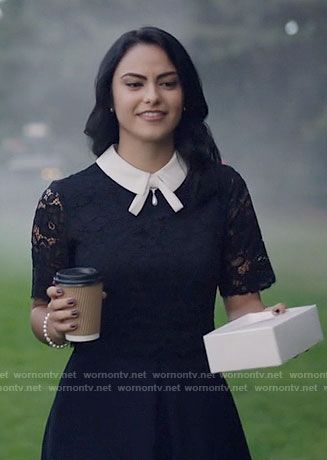 Veronica's navy lace dress with white collar on Riverdale.  Outfit Details: https://wornontv.net/65003/ #Riverdale