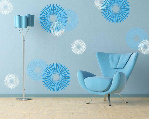stehlampe lampenschirm blau Wandgestaltung mit Farbe wandfarben ideen