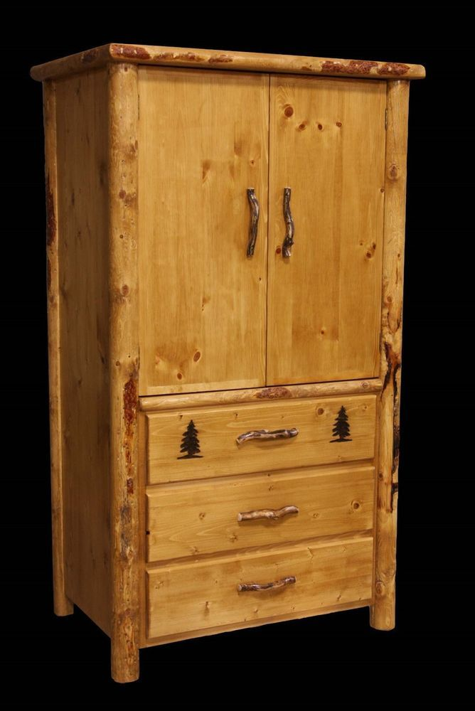 Rustic Armoire 3 Drawer Country Western Cabin Log Bedroom Furniture