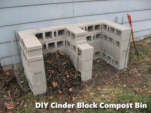 DIY Cinder Block Compost Bin - super easy way to start your garden compost... #gardening #homesteading