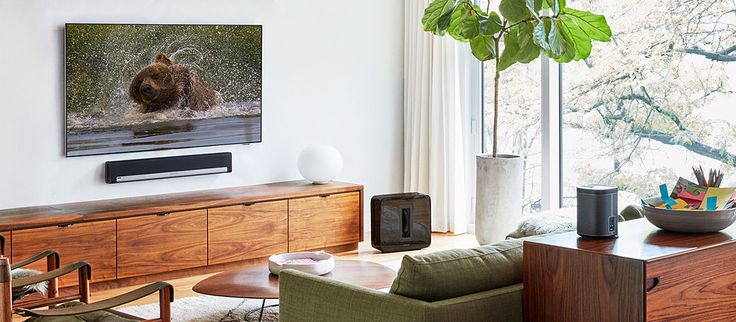 Sonos PLAYBAR is the wireless home theater soundbar for music lovers, with power to elevate your movies and your parties alike.